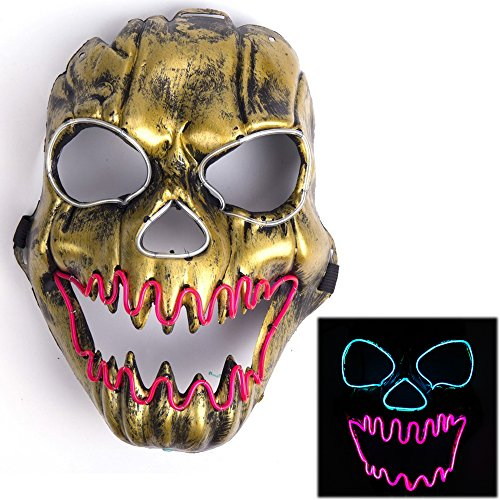 Luminous Scary Clown Mask Halloween Led Mask Flames Skull Mask Light Up Mask Flashing Carnival Masks for Show Halloween Festival (Decent Halloween Costume Ideas)