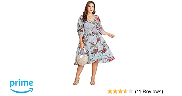 Milumia Plus Size Summer Wrap V Neck Chiffon 3 4 Sleeves Casual Party Midi Dress  Floral Print at Amazon Women s Clothing store  f21b18aa7