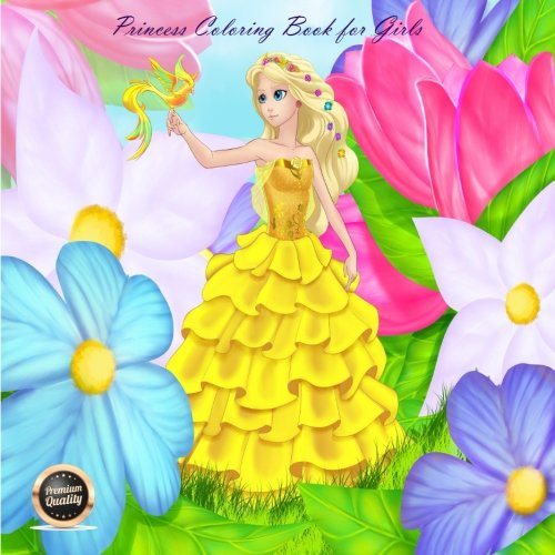 Read Online Princess Coloring Book for Girls: A coloring book with 40 beautiful black and white illustrations of princesses to color in (Volume 1) PDF