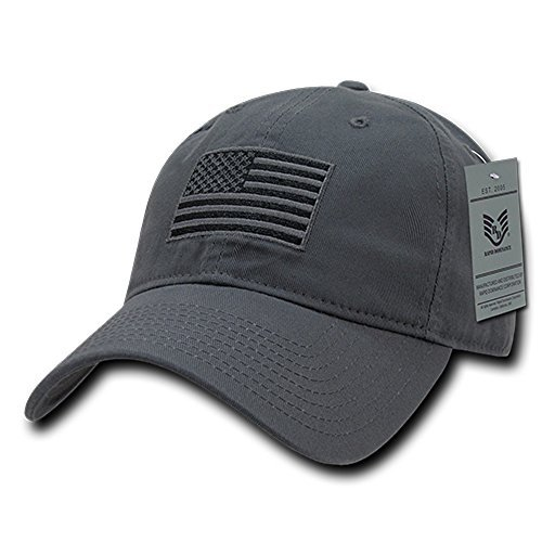 - Rapid Dominance American Flag Embroidered Washed Cotton Baseball Cap - Dark Grey
