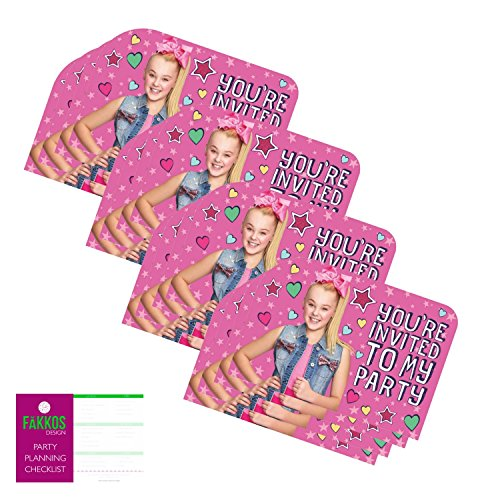 JoJo Siwa Party Invitations for 16 Guests by FAKKOS Design