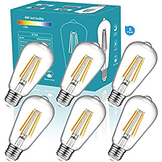 ST64 Vintage LED Edison Bulbs 810lm 60 Watt Equivalent 6W No-Dimmable LED Filament Light Bulb 810 Lumen Soft White 2700K ST64 Antique E26 Medium Base for Decorate Bedroom Office 6Pack 27K