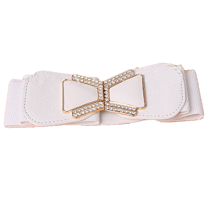 Deercon Women Elastic Crystal Wide Stretch Buckle Waistband Waist Belt(3 colors)