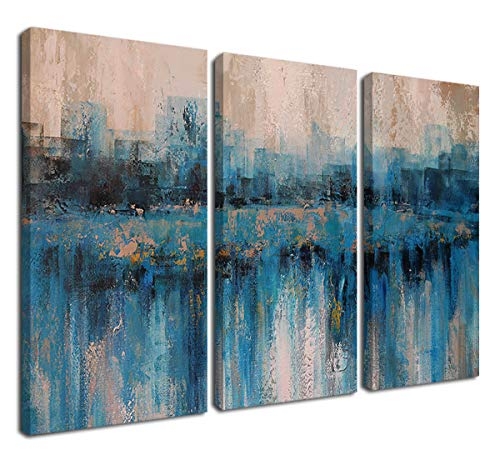 (Canvas Wall Art Prints Abstract Textured Cityscape Painting Artwork Grey Blue Tones 3 Panels/Set Large Size Framed Pictures Ready to Hang for Living Room Bedroom Office Kitchen Decorations)