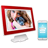 PhotoSpring (32GB) 10-Inch IPS, WiFi, Touchscreen, Battery, iPhone & Android App, Photo & Video, Digital Picture Frame (White with Maroon Red Mat) 32,000 photo capacity