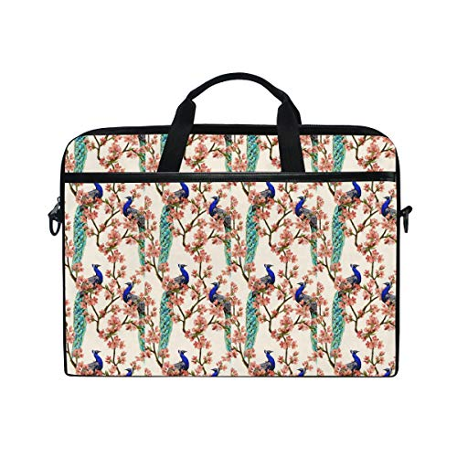 PENGTU 15-15.4 Inch Laptop Bag Beautiful Vector Seamless Pattern with Peacock Tropical Japanese Flowers Tree Spring Wallpaper Br Shoulder Messenger Bags Sleeve Case Tablet Briefcase with Handle Strap