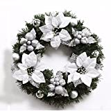 Christmas Garland for Stairs fireplaces Christmas Garland Decoration Xmas Festive Wreath Garland with Christmas wreath of silver Christmas flower,60cm