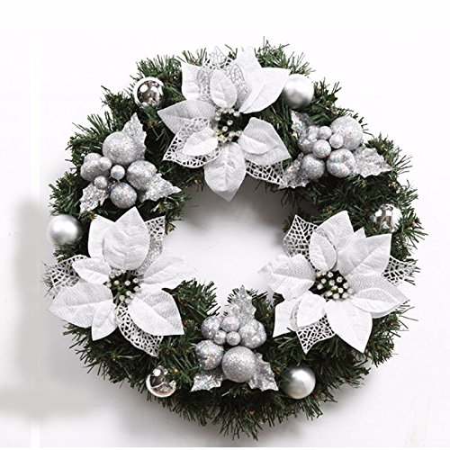 Christmas Garland for Stairs fireplaces Christmas Garland Decoration Xmas Festive Wreath Garland with Christmas wreath of silver Christmas flower,50cm by Caribou Furniture And Decor