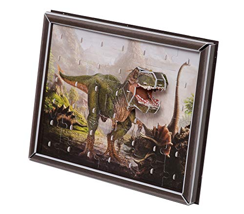 Zilipoo T-Rex 2D-3D Effect Jigsaw Puzzles Decoration with Frame for Kids Adults 41 Pieces