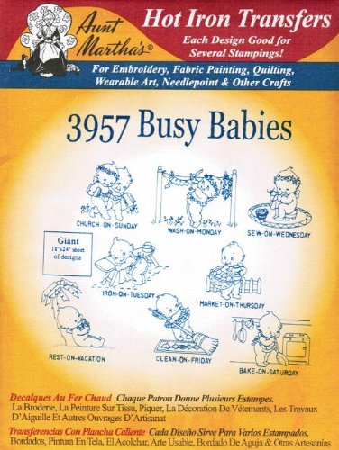 Aunt Martha's Hot Iron Transfers 3957 Busy Babies