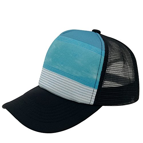 (Unisex Sublimated Print Baseball Trucker Caps Mesh Hat Adjustable Snapback Hat (Blue sky and white clouds))