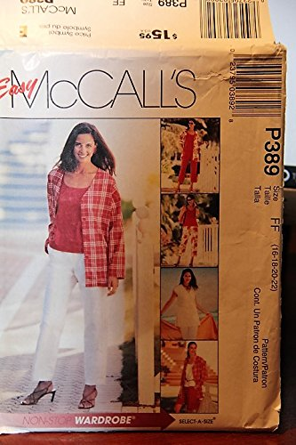 McCall's Pattern P389 Size FF (16,18,20,22) - Misses' Petite Unlined Jacket And Vest, Top, Pants, Capri Pants And Shorts ()