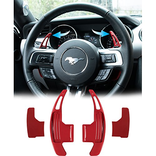 Danti 2Pcs Aluminum Steering Wheel Dull Polish Shift Paddle Shifter Extension for Ford Mustang 2015 2016 2017 2018 (Red)