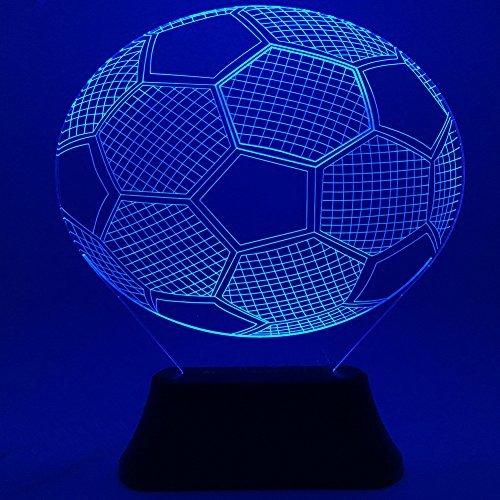 3D Soccer LED Night Light,SLDL 7 Colors Change 3D Football Soccer Bedroom Desk Table Decorative Night Light with 8 modes