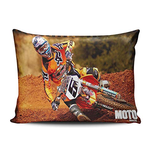 (WULIHUA Decorative Throw Pillow Covers Motocross Free Style Throw Pillow Cushion Covers for Sofa One Side Printed Standard 20x26 Inches)