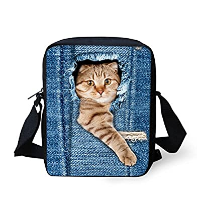HUGS IDEA Cute Women Denim Cat Dog Printed Small Cross-body Bag Mini Shoulder Handbags