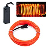 lychee EL Wire Neon Glowing Strobing Electroluminescent Light El Wire w/Battery Pack for Parties, Halloween Decoration (Orange, 9ft)