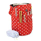 Knitting Bucket Bag, Sewing Accessories And Craft Needle Storage Organiser In Red Polka Dot by Roo Beauty