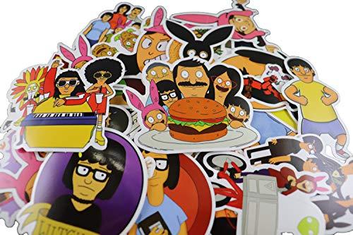 34 pcs Bob's Burger Sticker tv Show Creative DIY Stickers Funny Decorative Cartoon for Waterbottle Cartoon PC Luggage Computer Notebook Phone Home Wall Garden Window Snowboard