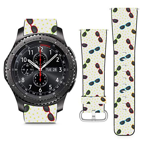 - Compatible with Samsung S3 Frontier // 22mm Leather Replacement Bracelet Strap Wristband with Quick Release Pins // Sun Glasses On