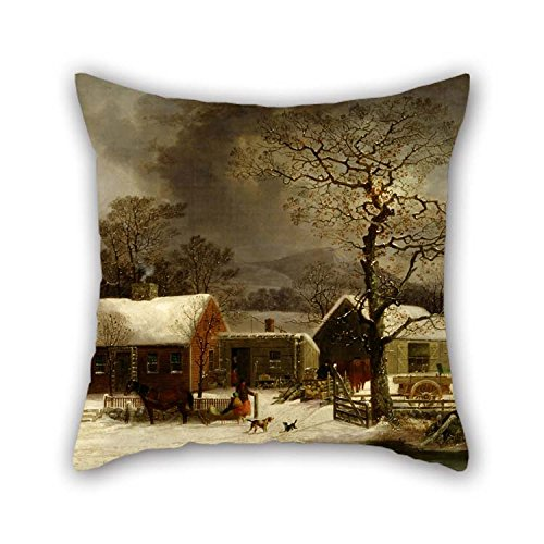 Pillowcover Of Oil Painting George Henry Durrie - Winter Scene In New Haven, Connecticut 18 X 18 Inches / 45 By 45 Cm Best Fit For Husband Christmas Deck Chair Bar Bedding Sofa Both Sides
