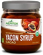 Alovitox Yacon Syrup 8 Oz. Safe Glass Jar   USDA Organic Natural Sweetener   Rich in Antioxidants, Vitamins, Prebiotics – Keto, Paleo, Vegan and Gluten Free