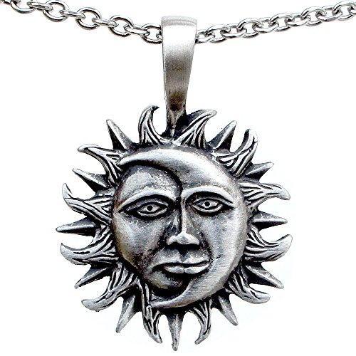 Sun Moon face symbol of rebirth strength and power pewter pendant necklace (Stainless Steel Chain ()