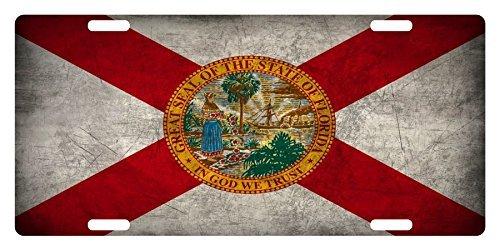FLORIDA STATE FLAG Custom License Plate Sunshine State Emblem Metal Version ()