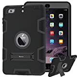 ipad mini cases cheap - Case for iPad mini, iPad mini 2 Case, iPad mini 3 Case, Impact Resistant Hybrid Triple Layer Armor Defender Full Body Protective Shockproof Case For iPad mini 1 2 3 With Built-in Kickstand (Black)