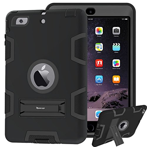 Price comparison product image Case for iPad mini,  iPad mini 2 Case,  iPad mini 3 Case,  Impact Resistant Hybrid Triple Layer Armor Defender Full Body Protective Shockproof Case For iPad mini 1 2 3 With Built-in Kickstand (Black)