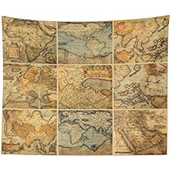 Maps Global Antique Tapestries Dorm Room Bedroom D/écor Art Small to Giant Sizes Printed in the USA Vintage World Map Tapestry Wall Hanging