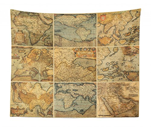 - Lunarable World Map Tapestry King Size, Collage Antique Old World Maps Vintage Ancient Collection Civilization, Wall Hanging Bedspread Bed Cover Wall Decor, 104 W X 88 L Inches, Multicolor