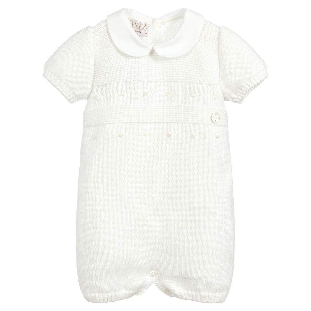 PAZ Rodriguez Baby Strick Strampler Overall Strickanzug M/ädchen o Jungen Wei/ß