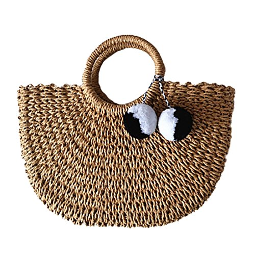 Hand-woven Straw Large Hobo Bag for Women Round Handle Ring Toto Retro Summer Beach (Brown) by e-fly