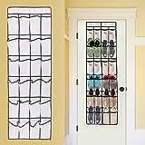 24 Pockets Over the Door Shoe Organizer - Home Novelties Over The Door Hanging Shoe Organizer (Black)