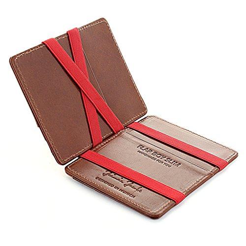 (Magic Wallet Flap Boy Slim Front Pocket Jaimie Jacobs RFID (Dark Brown with Red))