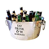 Eat Drink and be Married Wedding Gift for Couples Anniversary Gift Double-Walled Hammered Insulated Steel Luxury Beverage Tub- Heavy-Duty Lead-Free Certified