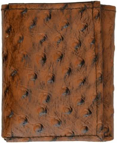 MEN'S GENUINE LEATHER TRIFOLD SIMULATED OSTRICH SKIN PRINT WALLET