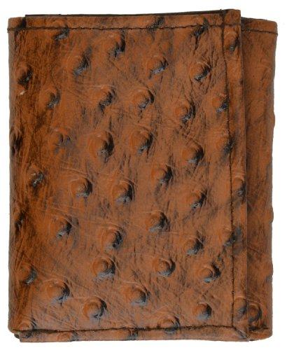 Genuine Leather Wallet Ostrich skin Print Trifold wallet Black (Ostrich Skin Wallet)