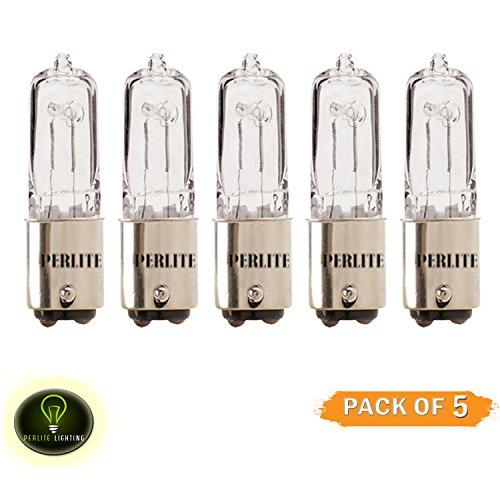 Perlite Lighting (Pack of 5) Q50CL/DC 50 Watt Single Ended T4 JD Frosted BA15d Double Contact Bayonet Base Halogen Light Bulb (Ba15d Base Sylvania Light Bulb)