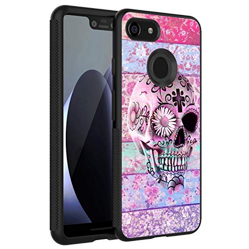 LONHAO Customized Pattern Hard PC Back Soft TPU Edges Phone Case for Google Pixel 3 XL Skull Flower Floral Pattern Daisy Colorful White Pink Cross boy-Black ()