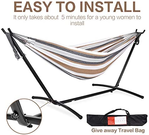PNAEUT 2-Person Hammock with Space Saving Steel Stand Garden Yard Outdoor 450lb Capacity Double Hammocks and Portable Carrying Bag (Coffee)