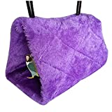 Pet Bird Snuggle Cave Fleece Parrots Swing Hammock Cage Hut Hanging Toy Tent Bed (M:24x23x17cm, purple)
