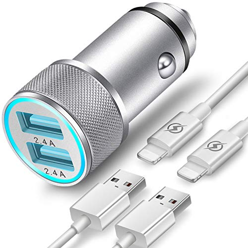 FIMARR Car Charger Compatible with iPhone XR/XS/X / 8/7/6/6S Plus 5S/5C/SE, iPad Air Mini Pro (2.4A Dual Port USB Car Charger with 2X 3ft Charging Cable) (3in1 Pack)