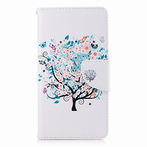 Yiizy Huawei Honor 6X (Huawei Mate 9 Lite, Huawei GR5 2017) Custodia Cover, Azzurro Albero Design Sottile Flip Portafoglio PU Pelle Cuoio Copertura Shell Case Slot Schede Cavalletto Stile Libro Bumper