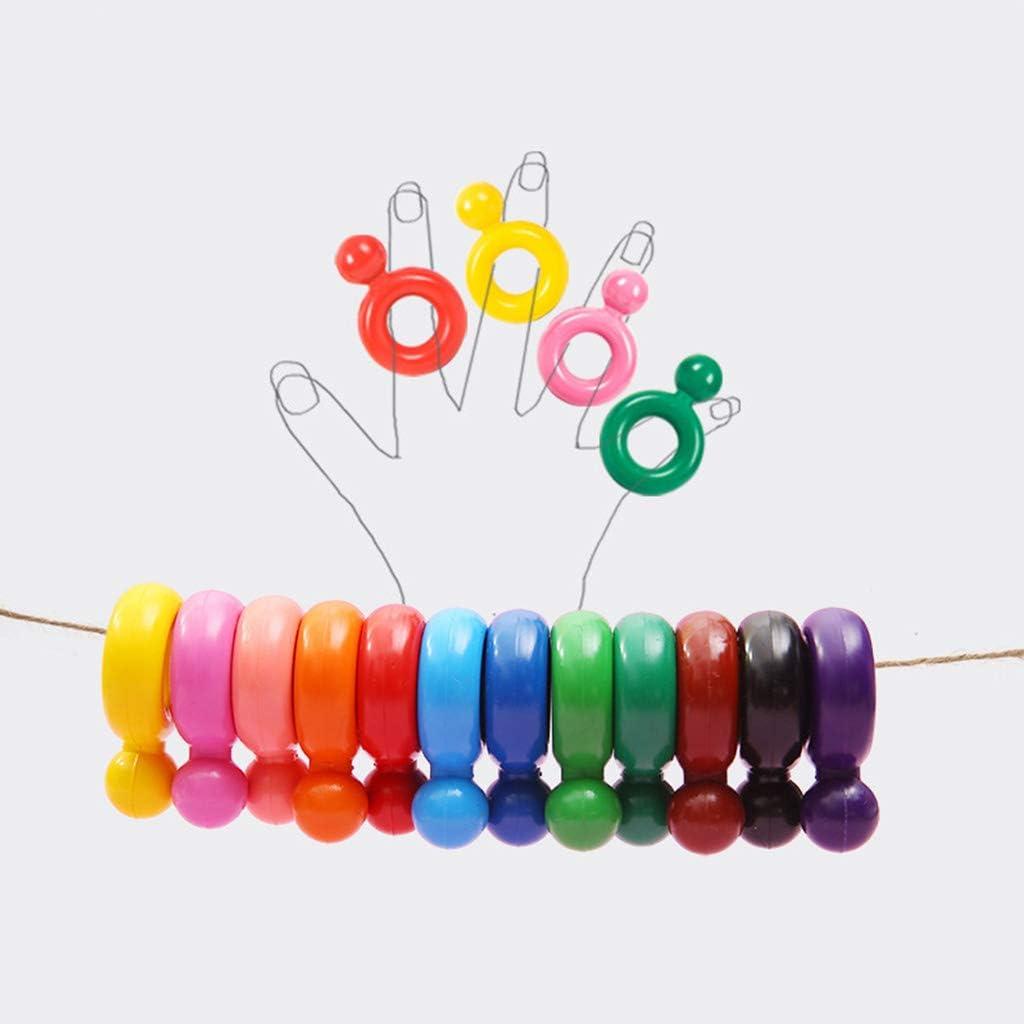 BELTI Creyones de Cera no t/óxicos con Forma de Anillo de 12 Colores para beb/és y ni/ños Dibujo de Pintura Seguro