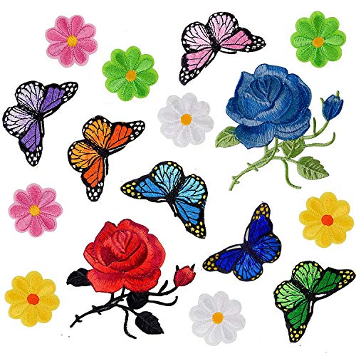Budicool Flowers Butterfly Iron on Patches Embroidery Applique Patches for Arts Crafts DIY Decor, Jeans, Jackets, Clothing, Bags (Pack of 16 Pieces) (Patches Applique)