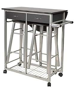 ts-ideen Juego de 3 piezas comedor Carrito de cocina y taburetes para la cocina marco de metal MDF plata y negro 83 x 79,5