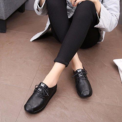 Zapatos mujer GTVERNH De Base Casual Suave Suave En de Pedales Piel Verano Zapatos negro inferior Planos Individuales Zapatos Mujer Zapatos Primavera Antideslizante Superficie Parte w6f6rEqx1