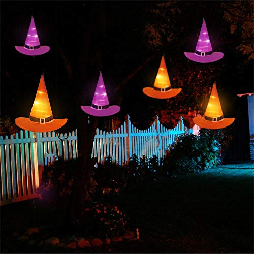 YUNLIGHTS Halloween Decorations 6Pcs Witchs Hat Decor Light